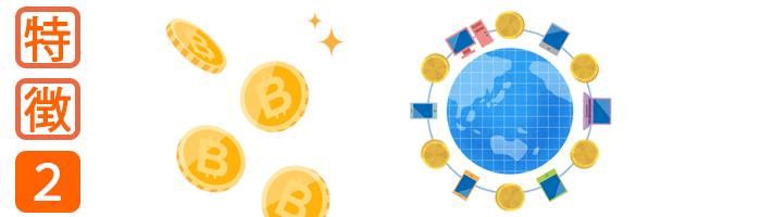 ビットコイン(法定通貨の両替が可能)
