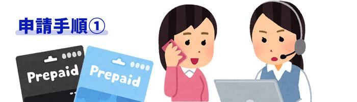 プリペイドカード申請手順①サポートへ申請の連絡