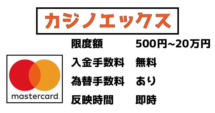 カジノエックスのMasterCard入金:限度額・手数料、反映時間