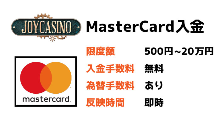 MasterCard(マスターカード)入金:限度額と手数料・反映時間