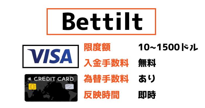 Bettilt(ベットティルト)のVISA入金:限度額と手数料・反映時間