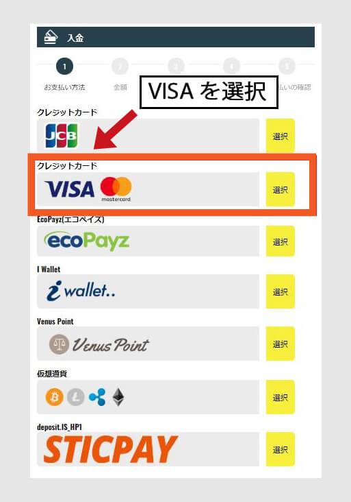 お支払い方法:クレジットカードの[VISA]を選ぶ