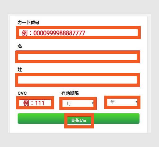 インターカジノに入金するためのVISAカード情報を入力