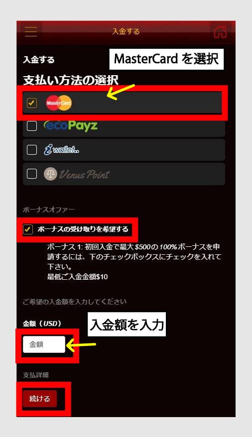 ライブカジノハウスでの支払い方法を選択し、入金額も入力