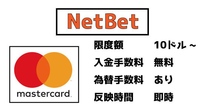 NetBet(ネットベット)のMasterCard(マスターカード)入金:限度額と手数料・反映時間